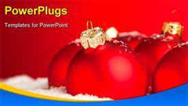 Christmas decoration balls with snow presentation background