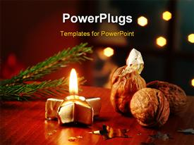 PowerPoint template displaying some Christmas ornaments with some walnuts on a table