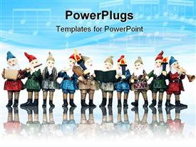 PowerPoint template displaying elves playing their music instruments at Christmas in the background.