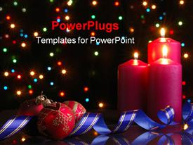 PowerPoint template displaying three red candles and ornaments on a black background