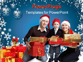 PowerPoint template displaying family of three with Santa caps holding Christmas presents on blue background