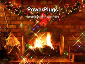 PowerPoint template displaying christmas Fireplace ~ log fire burns in open fireplace with garland and fairy lights in the background.
