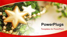 PowerPoint template displaying christmas frame for greeting card with decorative Christmas ornaments