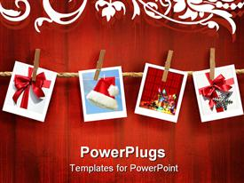 PowerPoint template displaying four pictures peged to a rope on a red background