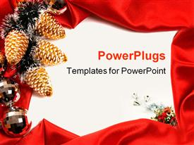 PowerPoint template displaying red decorative Christmas frame