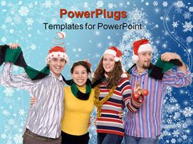 PowerPoint template displaying four friends having fun on a Christmas party in the background.