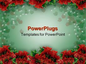PowerPoint template displaying lots of red colored Christmas flowers arranged in two lines