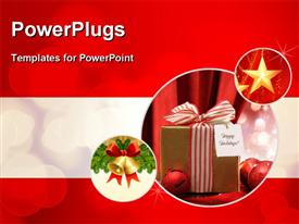 PowerPoint template displaying christmas gift