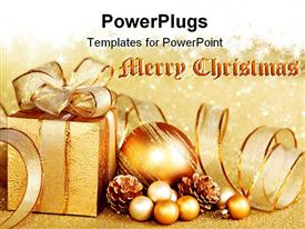 PowerPoint template displaying christmas gift box with Christmas ball on golden background