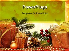 PowerPoint template displaying christmas gift with decoration on color background