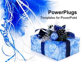 PowerPoint template displaying gift box wrapped in the paper with the bow