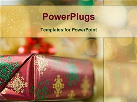 PowerPoint template displaying gold Christmas gift box and ornaments with sparkle lights in background