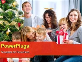 PowerPoint template displaying happy Big family holding Christmas presents at home. Christmas tree