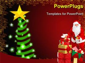 PowerPoint template displaying happy Christmas Santa with gifts