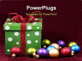 PowerPoint template displaying christmas gift and ornaments