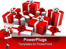 PowerPoint template displaying some Christmas gifts