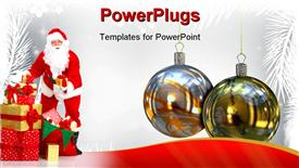 PowerPoint template displaying traditional Christmas balls background