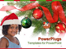 PowerPoint template displaying a pretty young smiling girl wearing a christmas cap