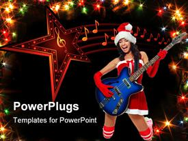 PowerPoint template displaying beautiful young brunette woman wearing a Santa's hat and playing a guitar