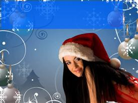 PowerPoint template displaying girl with Christmas gift