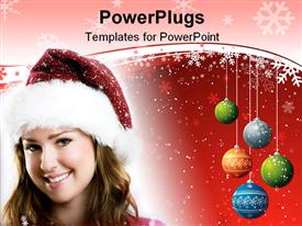 PowerPoint template displaying winter portrait of a beautiful young smiling woman with falling snow