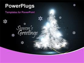 PowerPoint template displaying christmas Greeting Card with Tree of Lights in the background.
