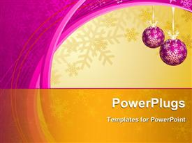 PowerPoint template displaying hanging purple decorative ornaments snowflakes winter