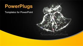 PowerPoint template displaying dark Silver Christmas Greeting with Bells of Glittering Lights in the background.