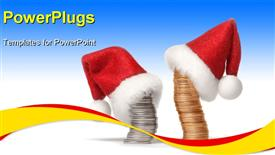 PowerPoint template displaying stacks of gold and silver coins dressed in Santa's hats