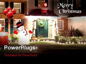 Christmas lights on a house in north America powerpoint theme