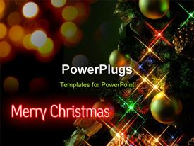 PowerPoint template displaying christmas tree at night, with a cross-screen filter