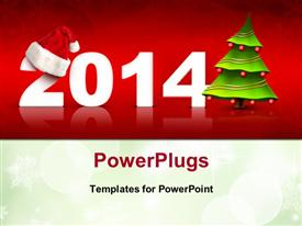 PowerPoint template displaying christmas and New year depictions with christmas tree and Santa cap
