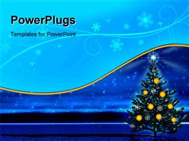 PowerPoint template displaying night star. Christmas tree and stars