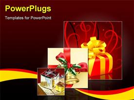 PowerPoint template displaying christmas present box with a gold bow