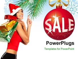 PowerPoint template displaying a girl happy for the Christmas with the celebration ball