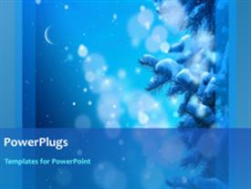 PowerPoint template displaying a short video showing snow falling on a blue background