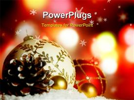 Christmas Background with festive Christmas baubles. background image powerpoint theme