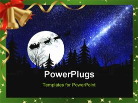 PowerPoint template displaying santa Claus on sky moon star background