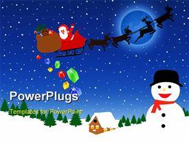 Santa Claus on sledge with Magic Deer flying over night winter and delivering his Christmas gifts powerpoint design layout
