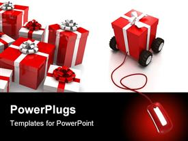 PowerPoint template displaying a number of gift hampers with white background