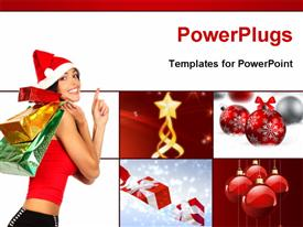 PowerPoint template displaying happy lady with shopping bags at Christmas with Christmas related collage