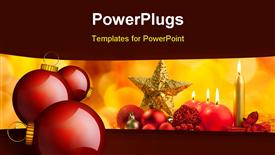 PowerPoint template displaying christmas golden star with red candles on bokeh lights background [Depiction Depiction]