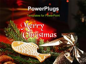 PowerPoint template displaying christmas depictions with Christmas tree and gift boxes on black background