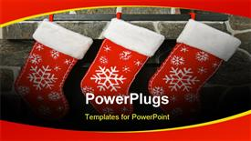 PowerPoint template displaying three chirstmas socks with colorful white patches on a wall