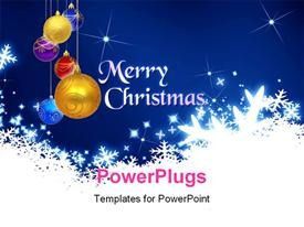 PowerPoint template displaying lots of Christmas ornaments with a text that spells out the word