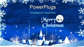 Christmas card with town, snow and moon, raster version of powerpoint theme