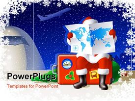 PowerPoint template displaying anta Claus at the airport is sitting on a suitcase and selecting a route for the Christmas travel