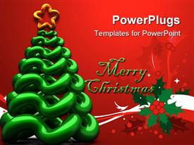 PowerPoint template displaying abstract shiny Christmas tree with star shape on top