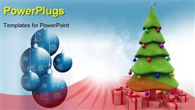 PowerPoint template displaying a Christmas tree with lots of Christmas gifts and ornaments