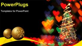 PowerPoint template displaying two gold colored christmas balls and a christmas tree with lights